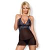 Kép 1/2 - OB4794 OBSESSIVE 844-CHE-1 chemise & thong  S/M black EAN: 5901688214794