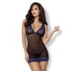 Kép 1/5 - OB7542 OBSESSIVE 850-CHE-6 chemise & thong  S/M blue EAN: 5901688217542
