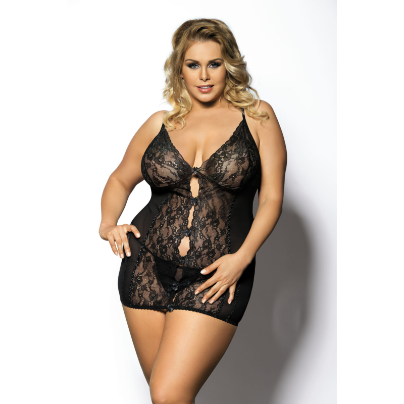 Anais Ymare fekete hálóing plus size XXL+  5XL-6XL EAN: 5901350513095