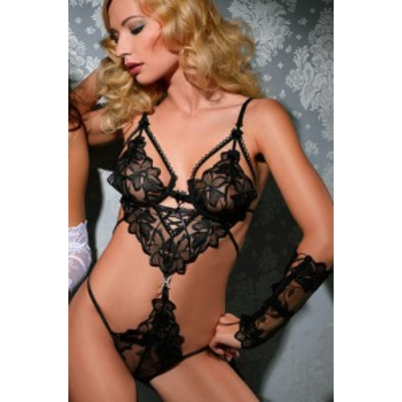 ANAIS Chiara body + kesztyű XL black EAN: 5908261610257
