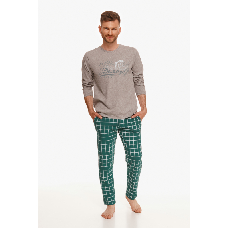 Taro 2631 MATT férfi hosszú pizsama 2XL    A/W21-22