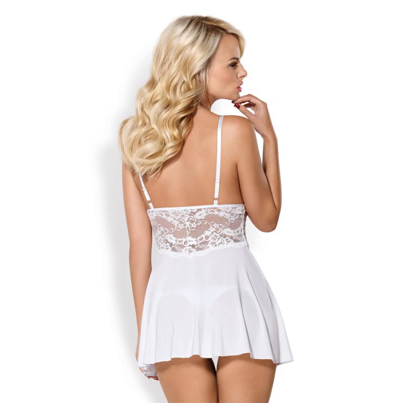 OB3933  810-BAB-2 babydoll & thong white  S/M EAN: 5901688213933