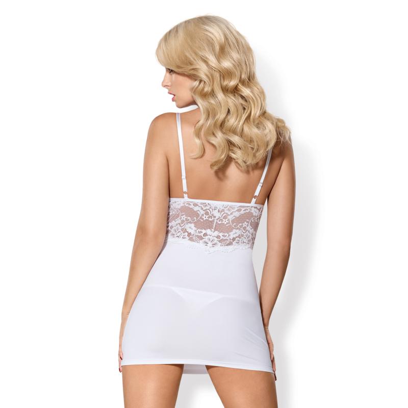 OB3896  810-CHE-2 chemise & thong white  S/M EAN: 5901688213896