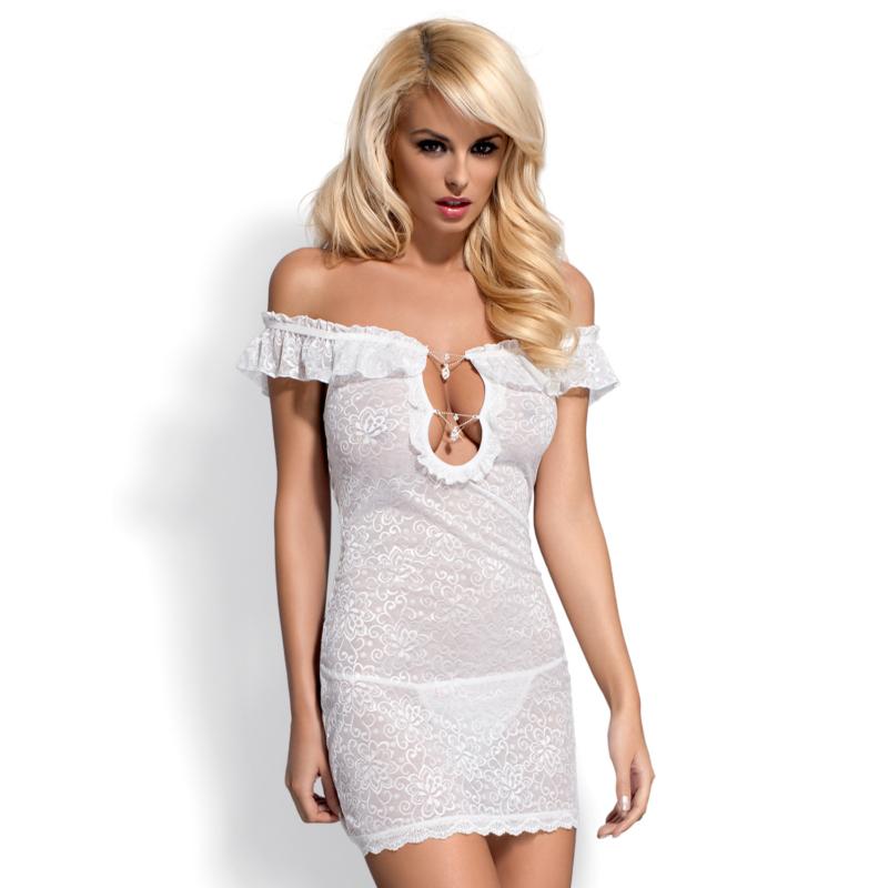 OB9475 OBSESSIVE Diamond chemise + tanga white S/M EAN: 5900308559475
