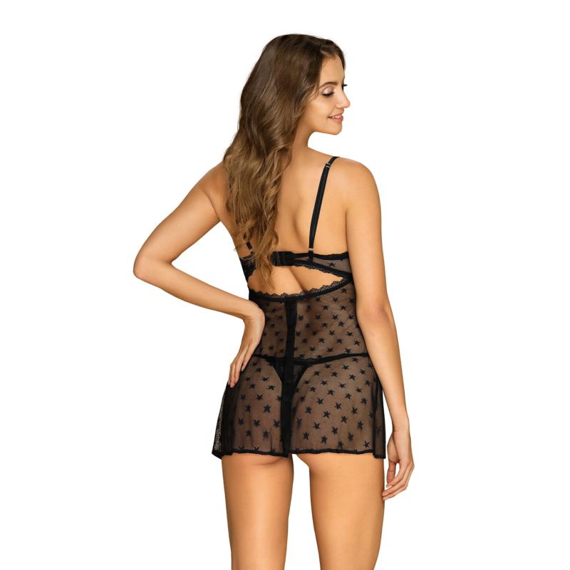 OB1890  Astralya chemise & thong black S/M    EAN:5901688231890