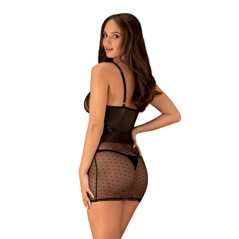 OB2590 OBSESSIVE Bowessa chemise & thong S/M  black   EAN:5901688232590
