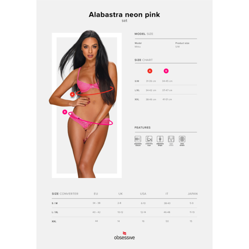 OB1326  Alabastra 2 pcs set pink S/M   EAN:5901688231326