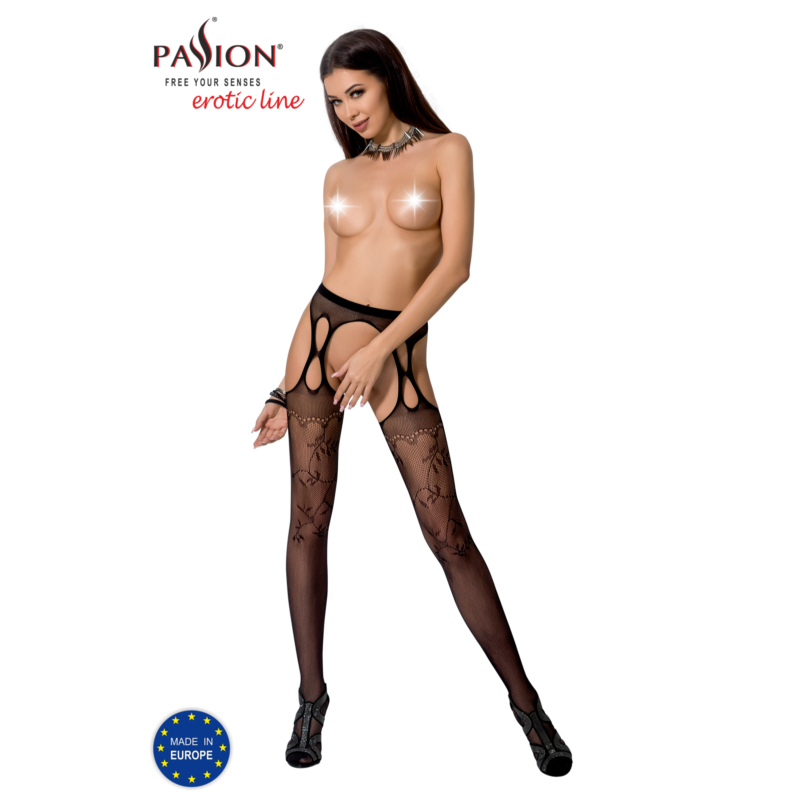 Passion S002 garterstocking fekete S/M/L     EAN:5908305948360