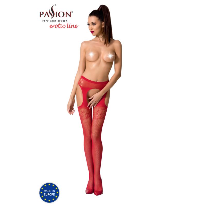 Passion S005 garterstocking piros S/M/L     EAN:5908305948469