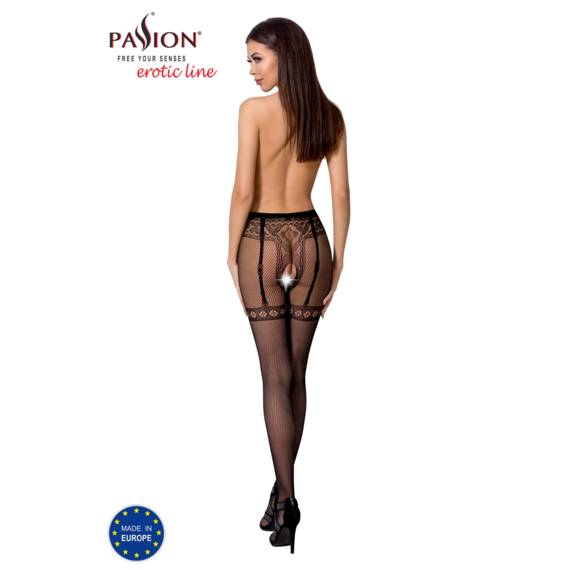 Passion S012 garterstocking fekete S/M/L     EAN:5908305948667