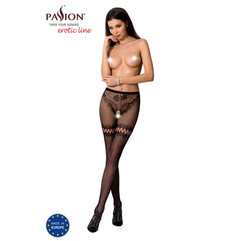 Passion S015 garterstocking fekete S/M/L     EAN:5908305948759