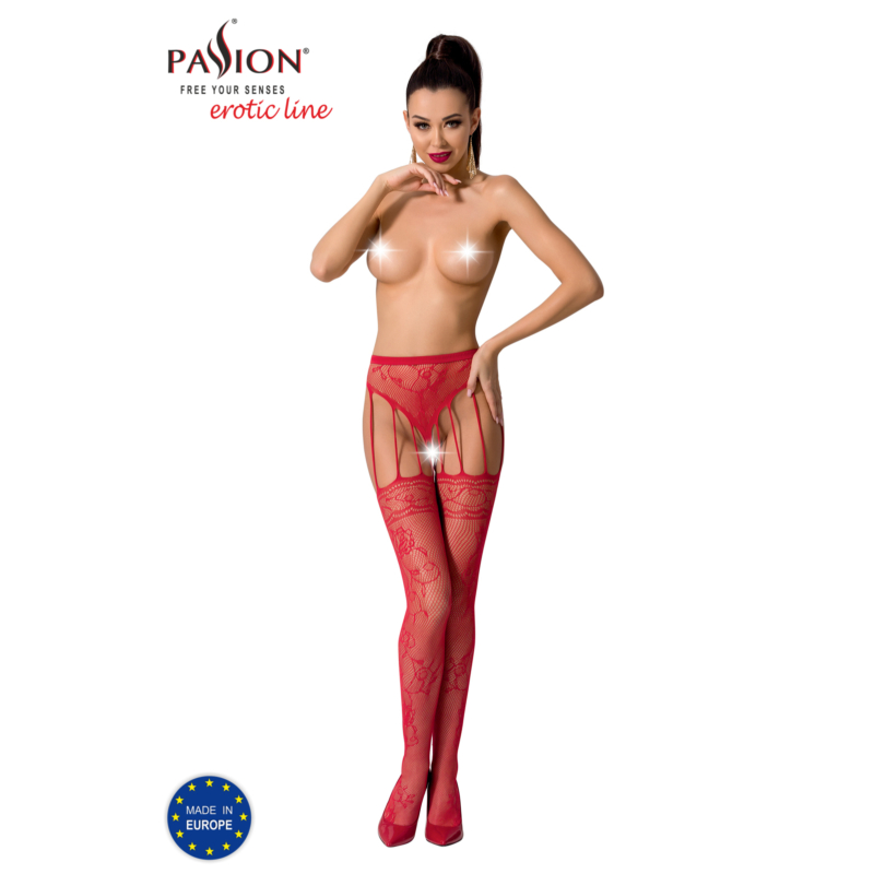Passion S016 garterstocking piros S/M/L     EAN:5908305948797