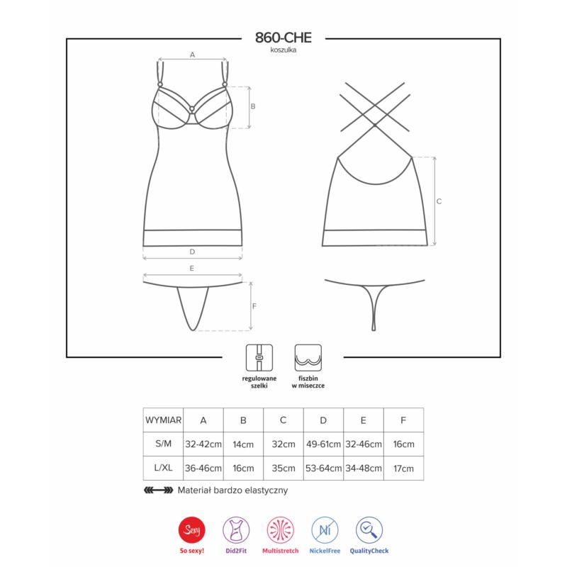 OB7459 OBSESSIVE 860-CHE-5 chemise & thong S/M pink EAN: 5901688227459