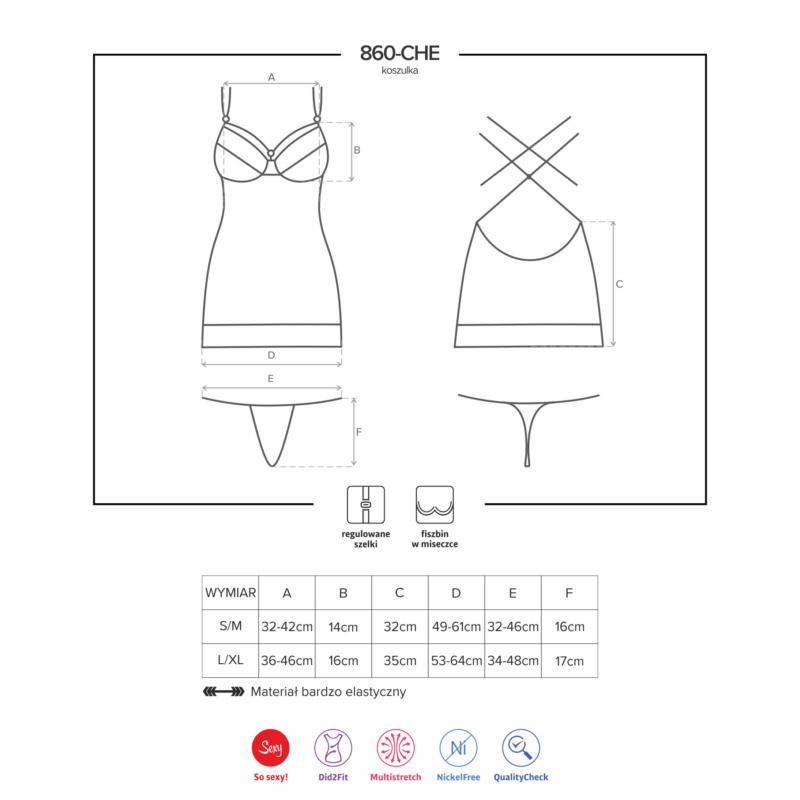 OB7466 OBSESSIVE 860-CHE-5 chemise & thong L/XL pink EAN: 5901688227466
