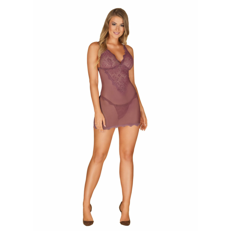 OB7299 OBSESSIVE Emperita chemise & thong berry S/M berry EAN: 5901688227299