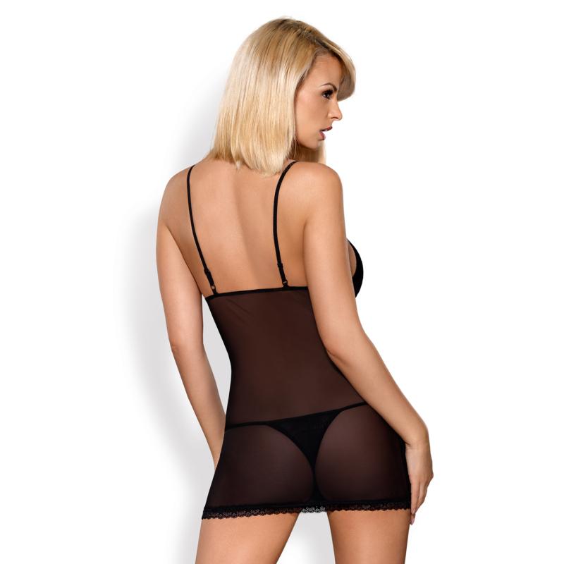 OB4954 OBSESSIVE 820-CHE-1 chemise & thong XXL black EAN: 5901688214954
