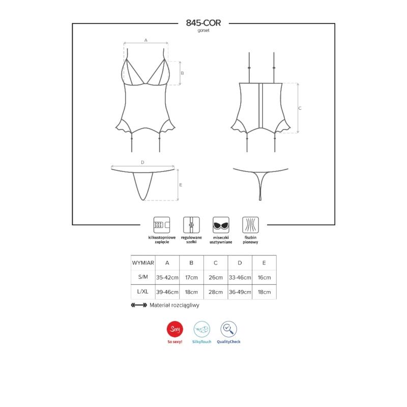 OB4619 OBSESSIVE 845-COR-5 corset & thong  S/M pink EAN: 5901688214619