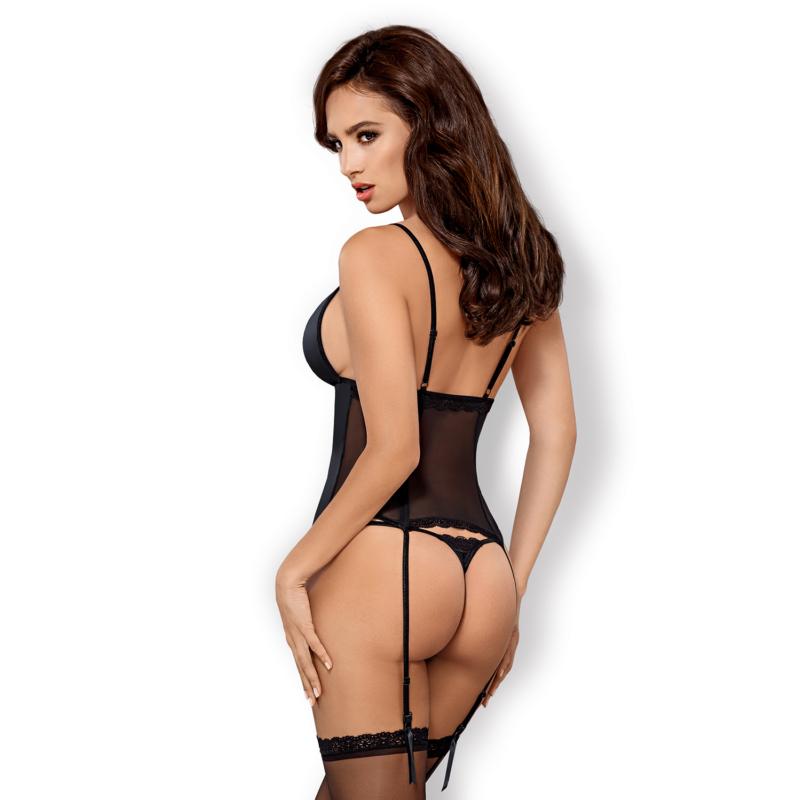 OB9669 OBSESSIVE 868-COR-1 corset & thong  S/M black EAN: 5901688219669