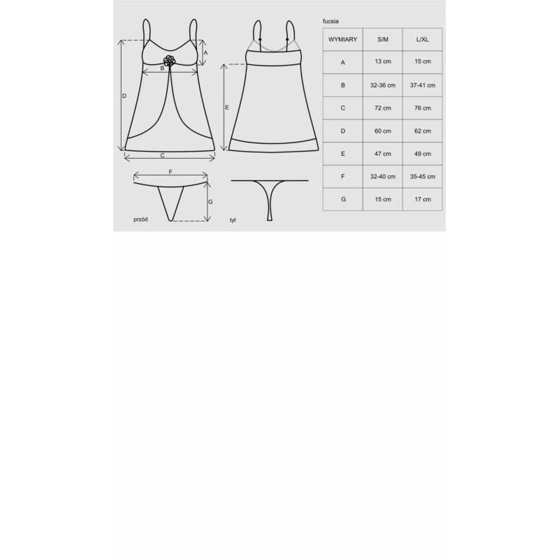 OB0773 OBSESSIVE Fucsia babydoll + tanga L/XL EAN: 5901688200773