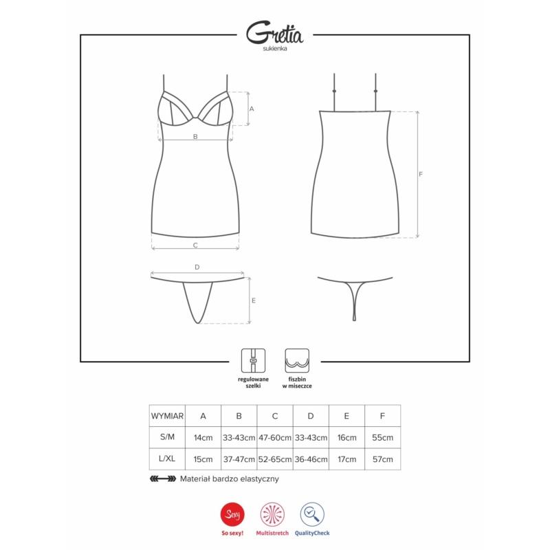 OB3544 OBSESSIVE Gretia ruha + tanga S/M EAN: 5901688213544