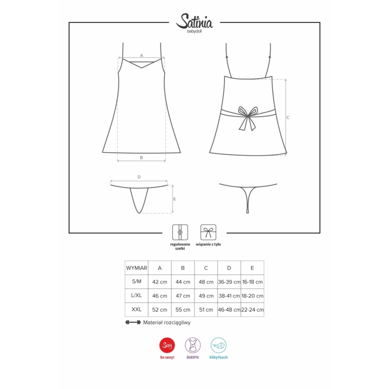 OB0673 OBSESSIVE Satinia szürke babydoll + tanga S/M EAN: 5901688210673
