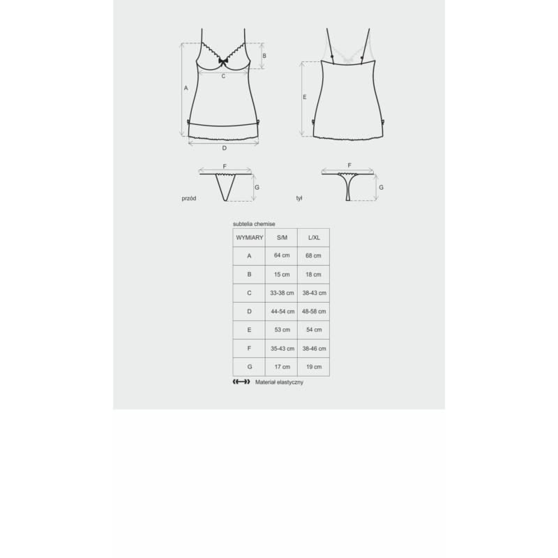 OB6416 OBSESSIVE Subtelia chemise + tanga fekete L/XL EAN: 5901688206416
