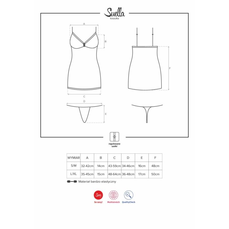 OB1915 OBSESSIVE Suella hálóing + tanga L/XL EAN: 5901688211915