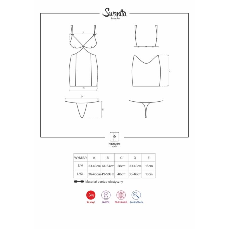 OB2127 OBSESSIVE  Swanita chemise & thong black L/XL EAN: 5901688212127